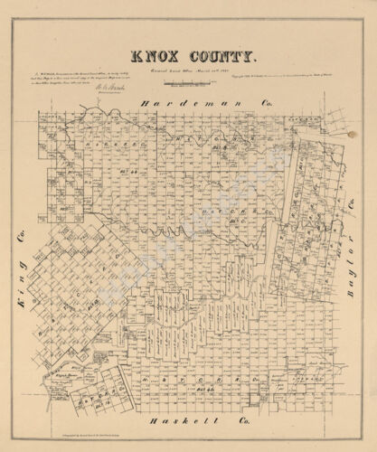Map of Knox County TX c1879 repro 20x24