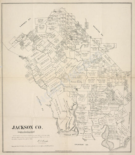 Map of Jackson County TX c1880 repro 20x24