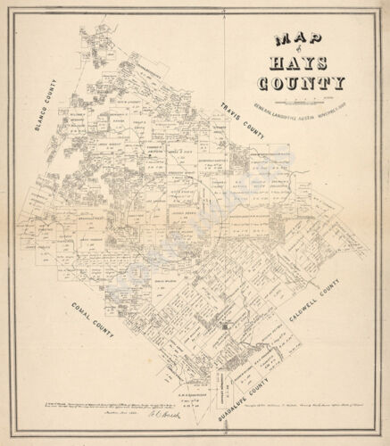 Map of Hays County TX c1880 repro 20x24