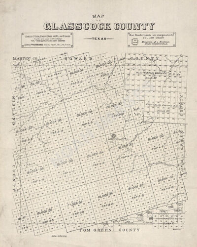 Map of Glasscock County TX c1890s repro 18x22
