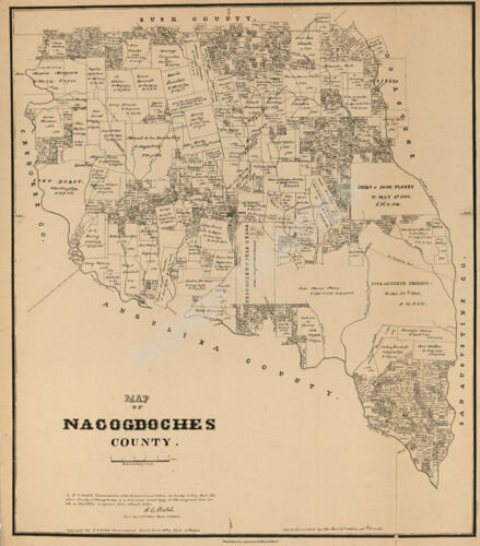 Map of Nacogdoches County TX c1881 repro 20x24