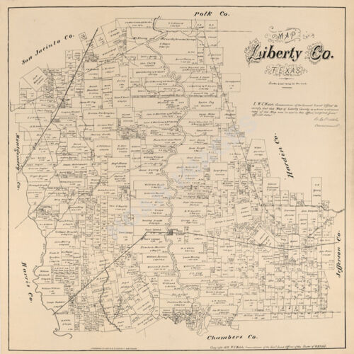 Map of Liberty County TX c1879 repro 24x24