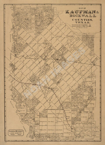 Map of Kaufman and Rockwall Counties TX c1878 repro 16x22