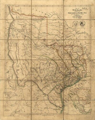 Map of Texas c1841 repro 24x30