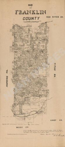 Map of Franklin County TX c1879 repro 12x24