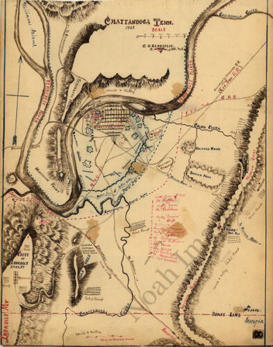 Map of Chattanooga TN c1863 repro 16x20