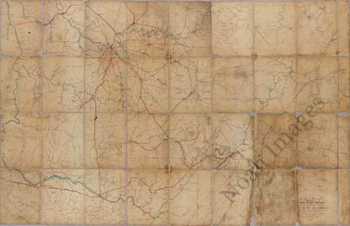Map of middle and east Tennessee c1862 repro 36x24
