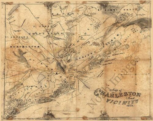 Map of Charleston and vicinity SC c1862 repro 30x24