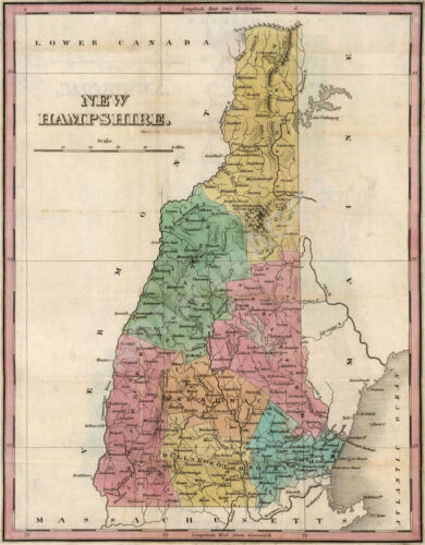 Map of New hampshire c1827 repro 16x20