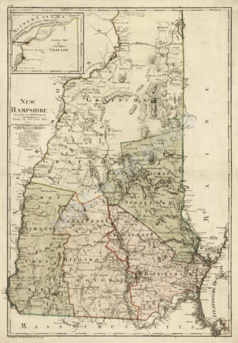 Map of State of New Hampshire c1796 repro 18x25.5