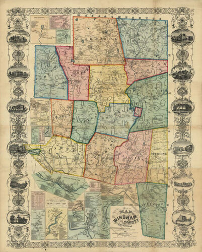 Map of Windham County CT c1856 repro 24x30