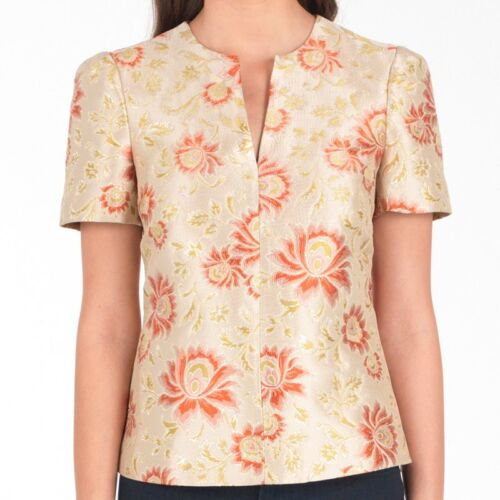TED BAKER gold jacquard floral print smart blouse top baroque party evening 0 6