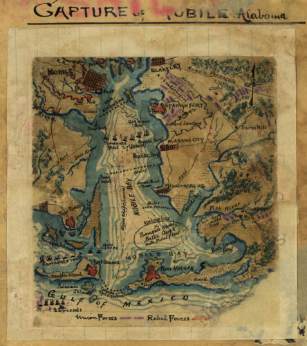 Map of Capture of Mobile Alabama c1865 repro 12x13