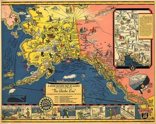 The Alaska Line A Good Natured Map of AK c1934 repro 30x24