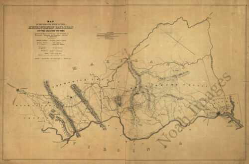 Map of the located route of the Metropolitan Rail Road c1855 repro 36x24