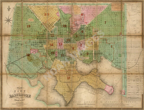 Map of City of Baltimore MD repro 30x24