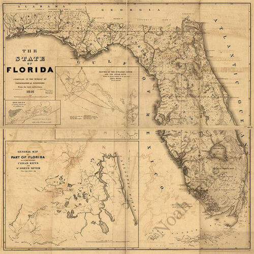 Map of State of Florida c1846 repro 24x24