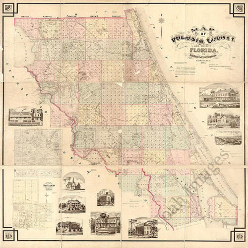 Map of Volusia County FL c1883 repro 24x24