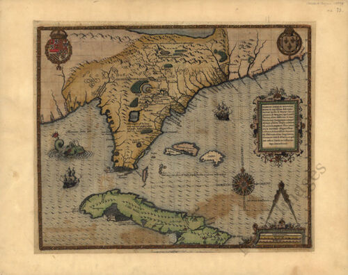 Florida in American province c1591 repro 20x16