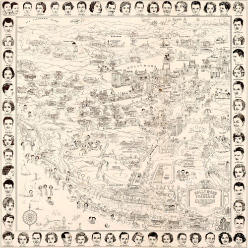 Hollywood starland map of CA c1937 repro 24x24