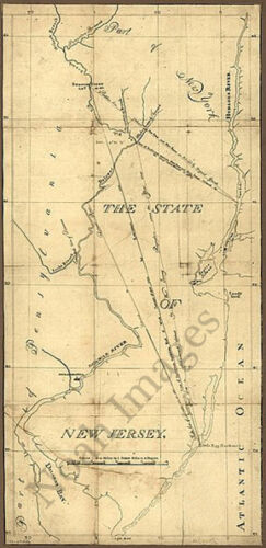 The State of New Jersey c1780s repro 18x36