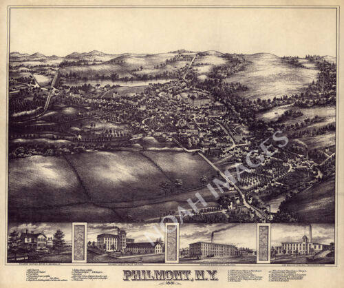 Philmont NY c1881 map 20x16