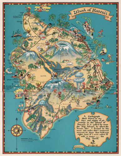 Island of Hawaii vintage pictorial guid map repro 18x24
