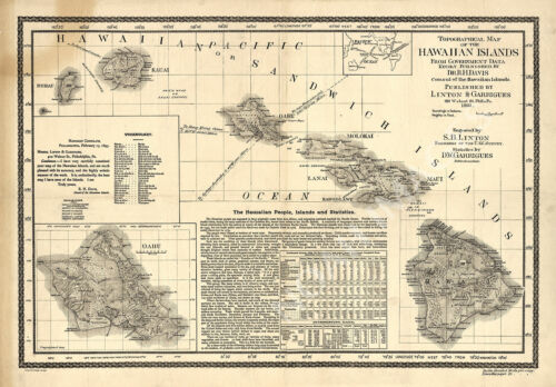 Topographical map of the Hawaiian Islands c1893 24x17