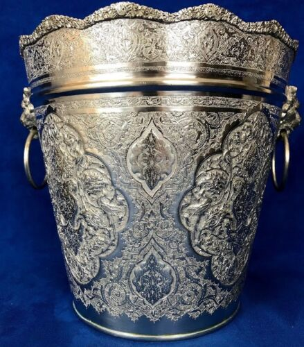 84 Silver Middle East, Arabic Chased Ice Bucket With Lion Head Handle