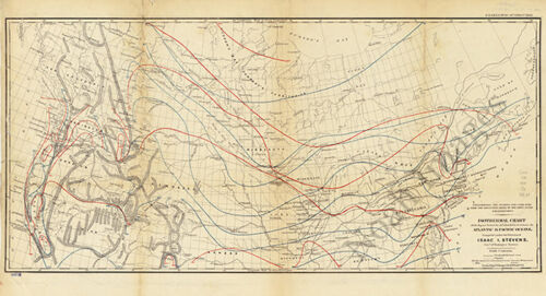 Isothermal chart of US and Canada c1859 map 36x20