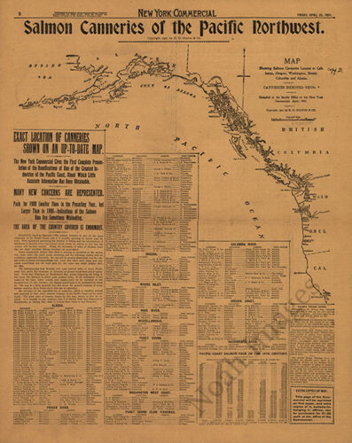 Salmon Canneries of the Pacific Northwest c1901 map 16x20