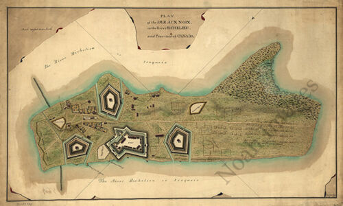 Plan of the Isle aux Noix c1760 map 36x22