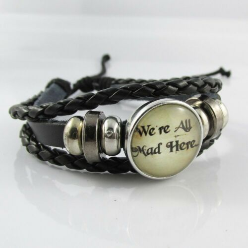 Chunk Button Cheshire Cat Inspired We're All Mad Here Cuff Bracelet Adjustable