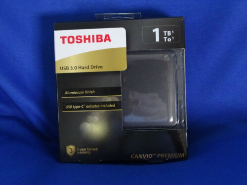TOSHIBA CANVIO PREMIUM USB 3.0 1TB EXTERNAL HDD WITH TYPE C ADAPTOR