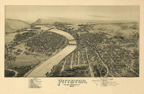 Pittston and West Pittston PA c1892 map 36x24