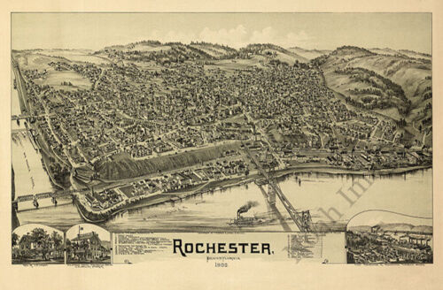 Rochester PA c1900 map 36x24