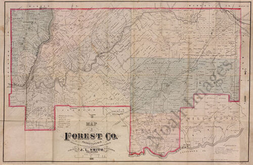 Map of Forest County PA c1881 36x24