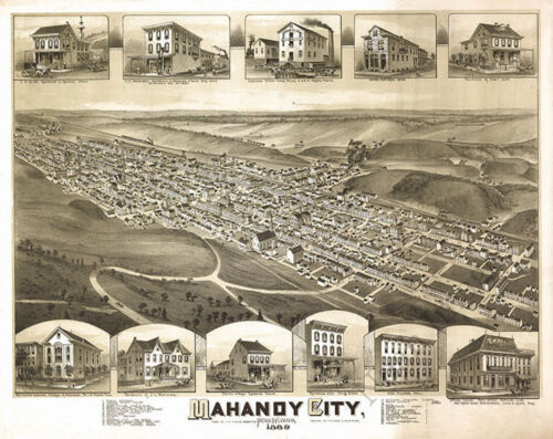 Mahanoy City PA c1889 30x24