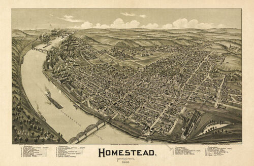 Homestead PA c1902 map 36x24