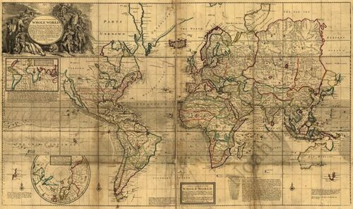 Map of the whole World c1719 36x22