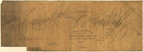 Map of North-Western Turnpike Road WV c1831 14x36
