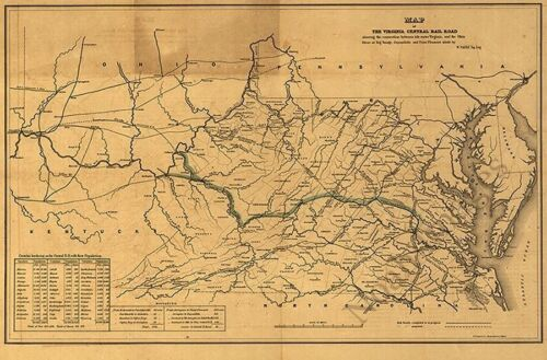 Map of the Virginia Central Rail Road c1852 24x36