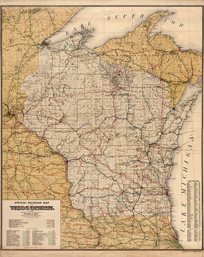 Railroad map of Wisconsin c1900 map 24x30