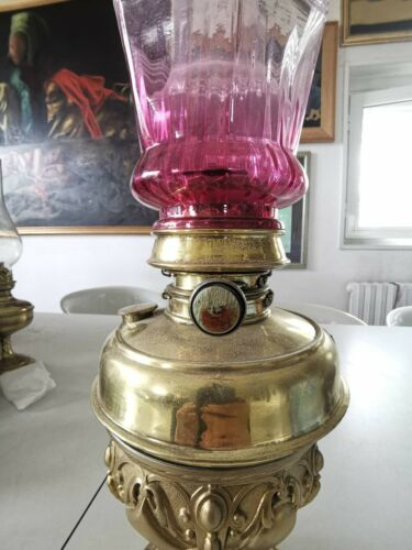 splendid  Sherwood Birmingham 1880-1900 large oil lamp, with Cranberry shade.