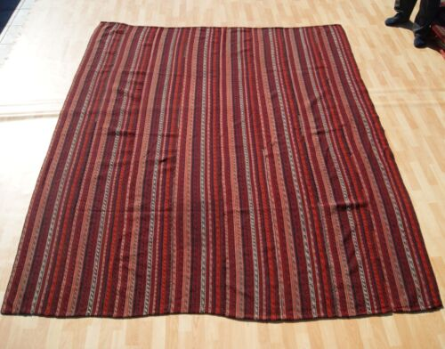 VINTAGE TRANSITIONAL RUG CICIM RED KILIM RUG RECTANGLE WOOL KILIM AREA RUG 7X9ft