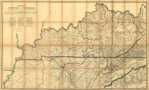 Military map of KY and TN c1863 36x24