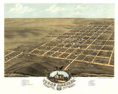 Young America Illinois panorama c1869 map 20x16