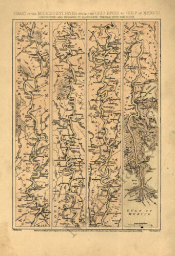Chart of the Mississippi River c1863 map 16x23