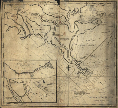 Plan of the river Missisippi c1770s map 22x20