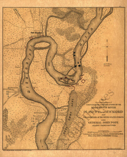 Map of  fortifications on the Mississippi River c1862 17x21